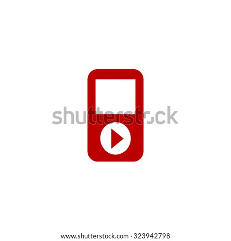 mp3 player red flat icon