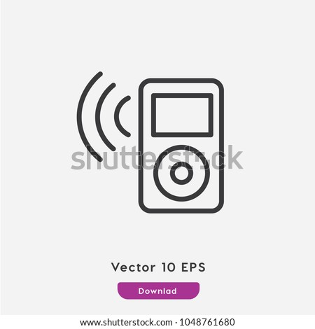 Mp3 player vector icon. Player symbol. Ipod icon.  Linear style sign for mobile concept and web design. mp3 player symbol logo illustration. vector graphics - Vector.