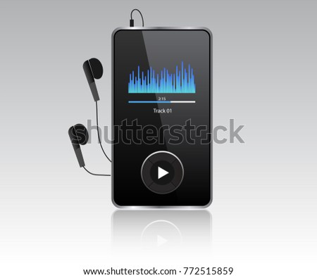 Mp3 player vector realistic with headphones.