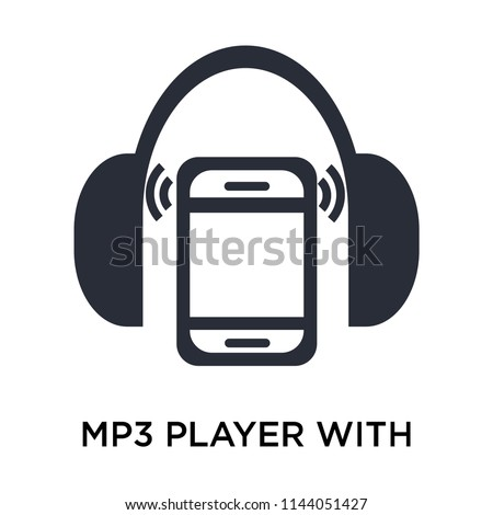 Mp3 player with headphones icon vector isolated on white background for your web and mobile app design, Mp3 player with headphones logo concept