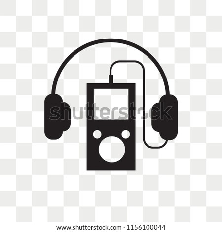 Mp3 player with headphones vector icon isolated on transparent background, Mp3 player with headphones logo concept