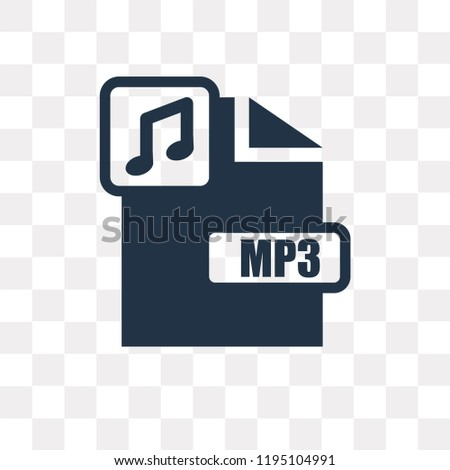 Mp3 vector icon isolated on transparent background, Mp3 transparency concept can be used web and mobile