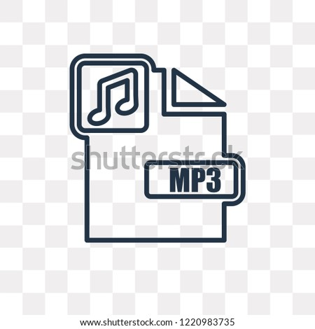 Mp3 vector outline icon isolated on transparent background, high quality linear Mp3 transparency concept can be used web and mobile