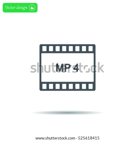 MP4 video file extension icon vector.