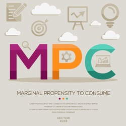 MPC mean (marginal propensity to consume) ,letters and icons,Vector illustration.