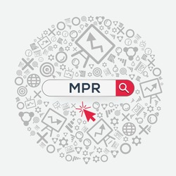 MPR mean (monthly progress report) Word written in search bar ,Vector illustration.