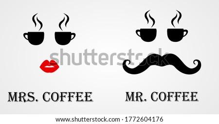 Mr and Mrs Coffee Logo, Cafe Icon vector illustration ストックフォト ©