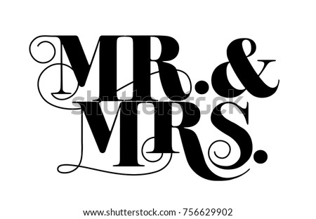 Mr. and Mrs. design appropriate for weddings and anniversary, vintage style ストックフォト ©