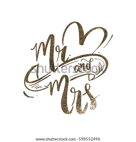 Mr and Mrs wedding backdrop design with gold glitter/ Typography poster design vector art ストックフォト ©
