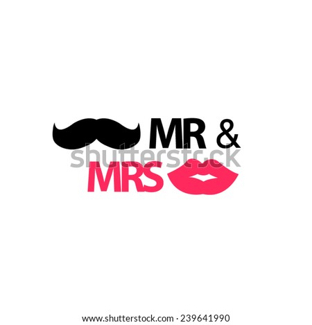 Mr and Mrs with mustache and lips