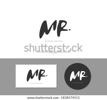 MR Initial handwriting or handwritten logo for identity. Logo with signature and hand drawn style. Stock fotó ©