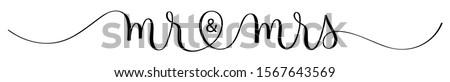 MR & MRS black vector brush calligraphy banner ストックフォト ©