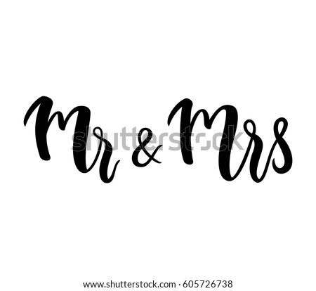 Stock Vector Mr Mrs And Lettering