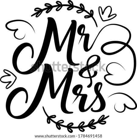 Mr & Mrs quote. Wings vector ストックフォト ©