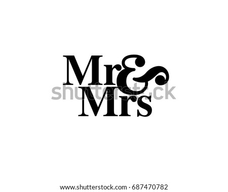 Mr & Mrs wedding hand written lettering. Wedding decoration. Mister and mrs for wedding and invitation elements. Traditional wedding words. Isolated on white background. Vector illustration. ストックフォト ©