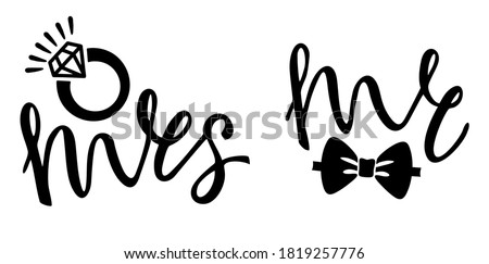 Mr & Mrs wedding lettering. Wedding invitation design. Couple modern calligraphy sign. For wedding cards with 'Mr and Mrs' lettering and delicate wreath with branches. Vector. Wedding card. Stok fotoğraf ©