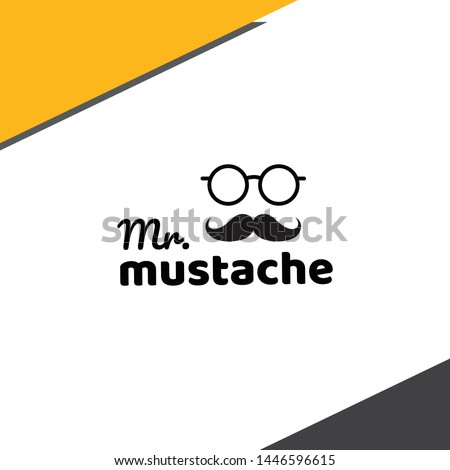 Mr Mustache Logo - good for barber shop - glasses with mustache - Vector