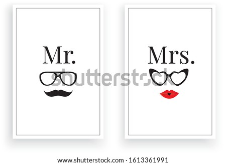 Mr. Right  Mrs.,Scandinavian Minimalist Art Design, Wall Decor Vector, Wall Decals, Lettering, Art Decor, Two pieces Wall Art isolated on white background. Poster Design, Couple T shirt design ストックフォト ©