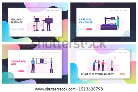Mri or Xray Scanning Procedure Website Landing Page Set. Doctor Look at Results of Patient Scan. Man Lying in Radiographer Nuclear Diagnostic Machine Web Page Banner. Cartoon Flat Vector Illustration