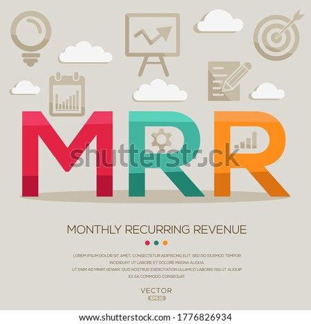 MRR  mean (monthly recurring revenue) ,letters and icons,Vector illustration.