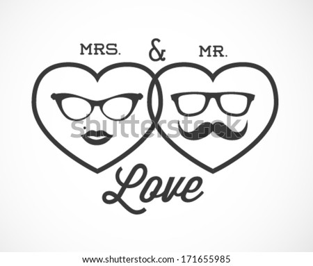 Stock Vector Mrs And Mr Love Illustration