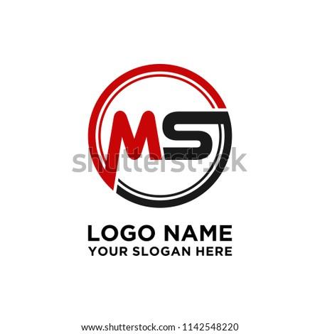 MS initial circle logo template vector