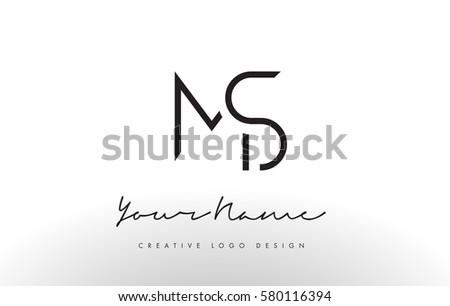 MS Letters Logo Design Slim. Simple and Creative Black Letter Concept Illustration.