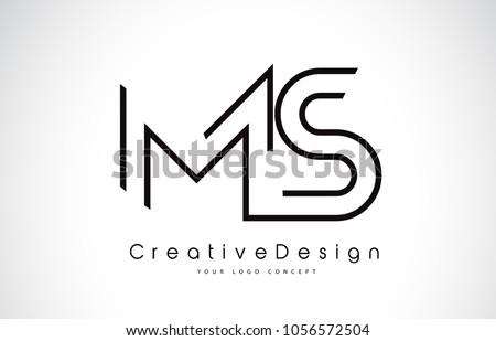 MS M S Letter Logo Design in Black Colors. Creative Modern Letters Vector Icon Logo Illustration.
