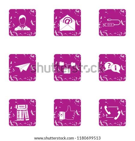 msg icons set grunge set of 9