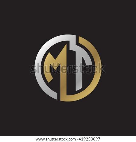 MT initial letters looping linked circle elegant logo golden silver black background Stock fotó ©