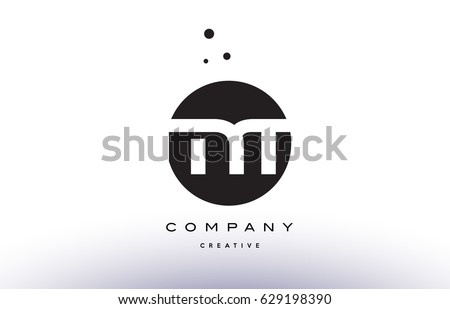 MT M T alphabet company letter logo design vector icon template simple black white circle dot dots creative abstract Stock fotó ©