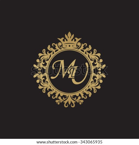 MU initial luxury ornament monogram logo