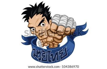 muay thai fight boxing vector illustration