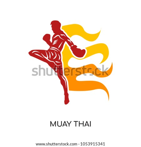 muay thai logo isolated on white background for your web, mobile and app design, muay thai icon concept