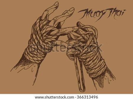 muaythai hand drawn