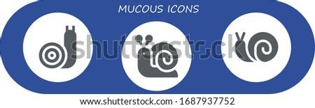 mucous icon set 3 filled