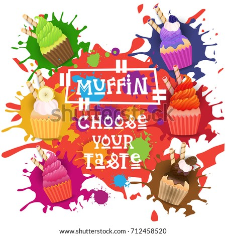 Stock Photo Muffins Set Colorful Desserts Collection Choose Your Taste Cafe Poster Vector Illustration
