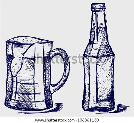 Beer Bottles Drawing Mug And Bottle Beer Sketch