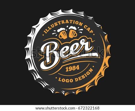 mug beer logo on cap   vector