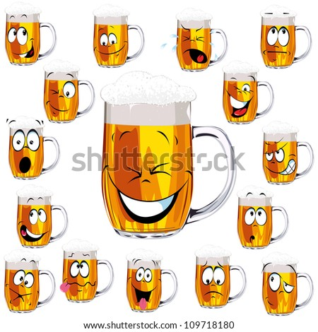 Mug fresh beer  cartoon with cap of foam isolated on white background