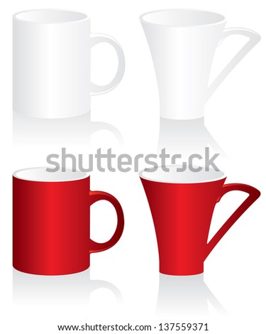 Mug red and white  illustration