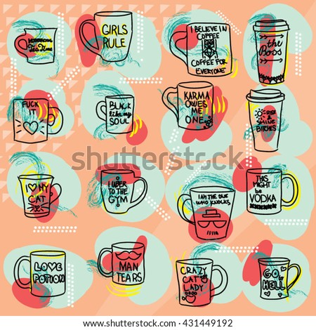 mug with text set colorful