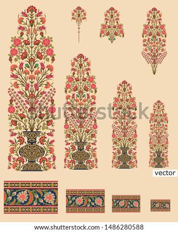 mughal flower bunch design cream background
