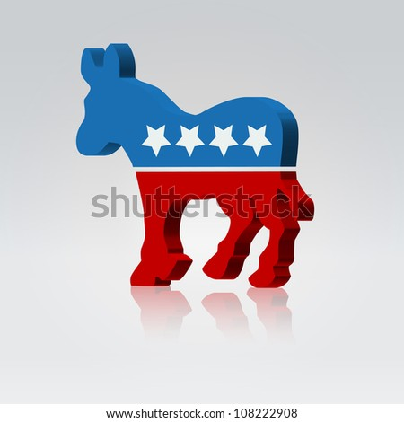 Mule silhouette american voting campaign illustration