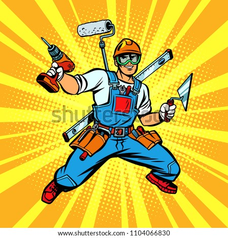 Multi-armed Builder repairman. Comic cartoon pop art retro vector illustration kitsch vintage drawing