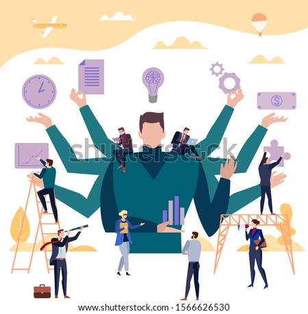 Multi-armed business assistant vector concept with people doing multiple things, discovering, researching, building, selling and generating ideas with a figure of a man with eight arms in the middle