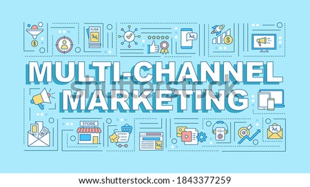 Multi-channel marketing word concepts banner. Brand tactic. Customer experience. Infographics with linear icons on turquoise background. Isolated typography. Vector outline RGB color illustration Stock photo ©
