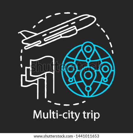 Multi-city trip chalk icon. Flights with multiple destinations. Vacation, tourism, tour. Airplane traveling. Airline ticket. City stopovers. Plane flying up. Isolated vector chalkboard illustration