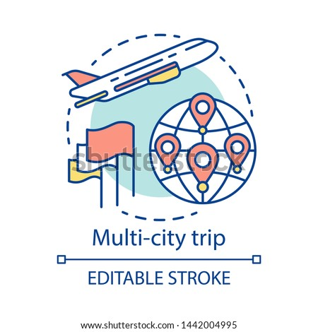 Multi-city trip concept icon. Flights with multiple destinations idea thin line illustration. Airplane traveling. Tourism, tour. Plane flying up. Vector isolated outline drawing. Editable stroke