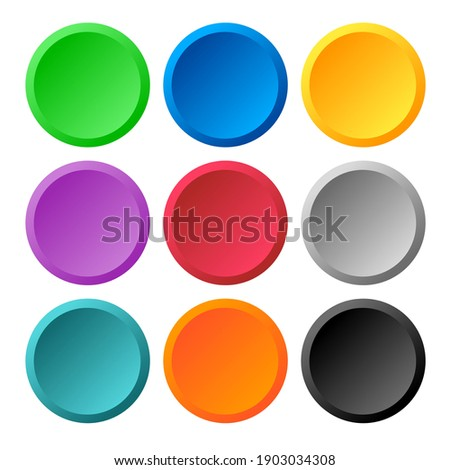 Multi color 3d circle icon background for web or print design element